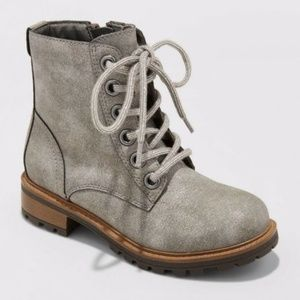 Target silver shimmering combat boots